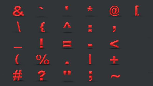 3D Keyboard symbols