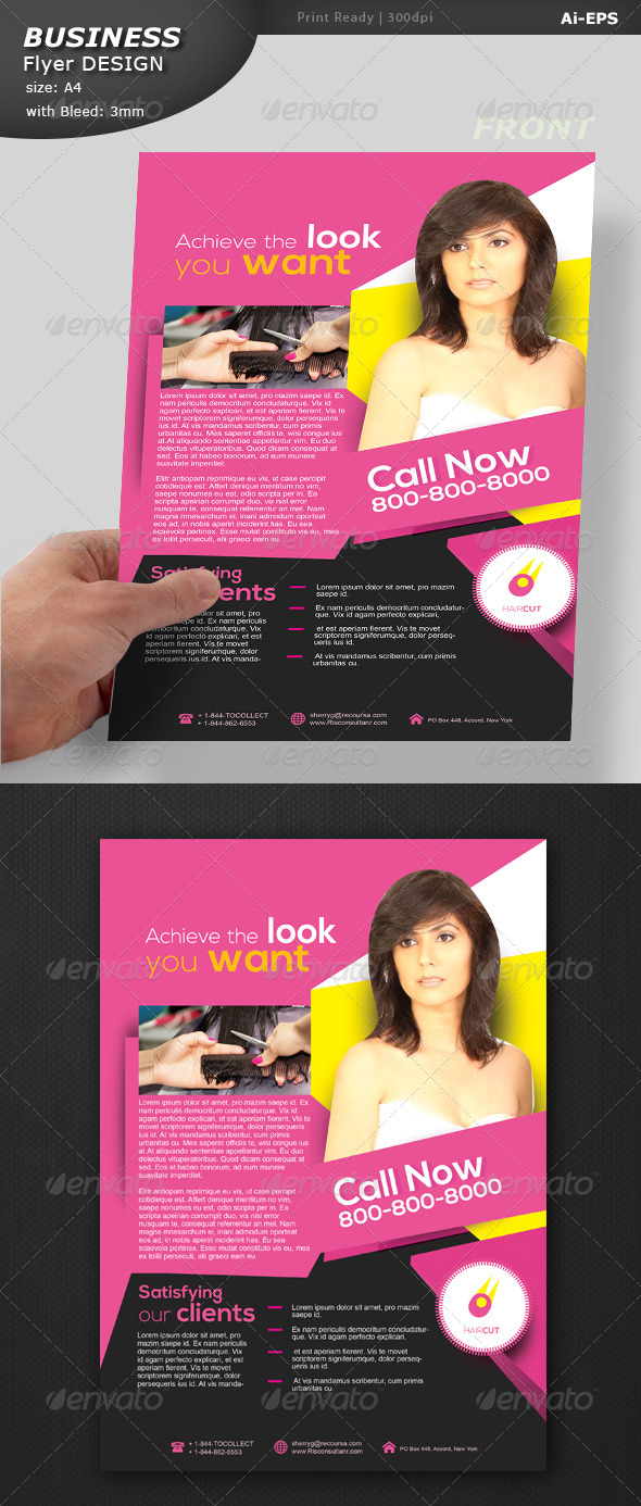 GraphicRiver Hair Cut Pamphlet Design 8495466