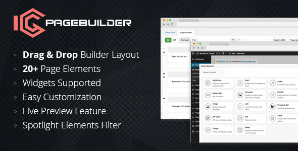 IG PageBuilder is a simple Drag and Drop page builder that helps you build a complete WordPress website in a few minutes without coding knowledge required.