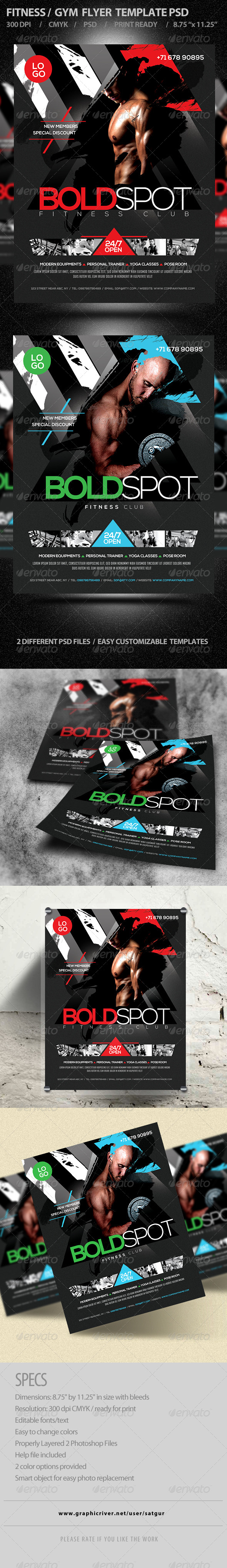 GraphicRiver Fitness Flyer Gym Flyer Template PSD V7 8495518