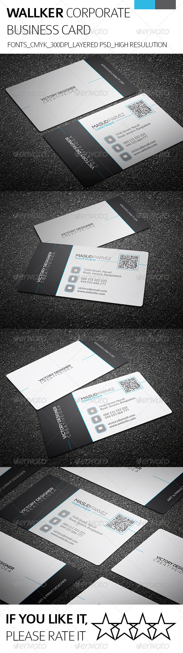 GraphicRiver Wallker & Corporate Business Card 8495702