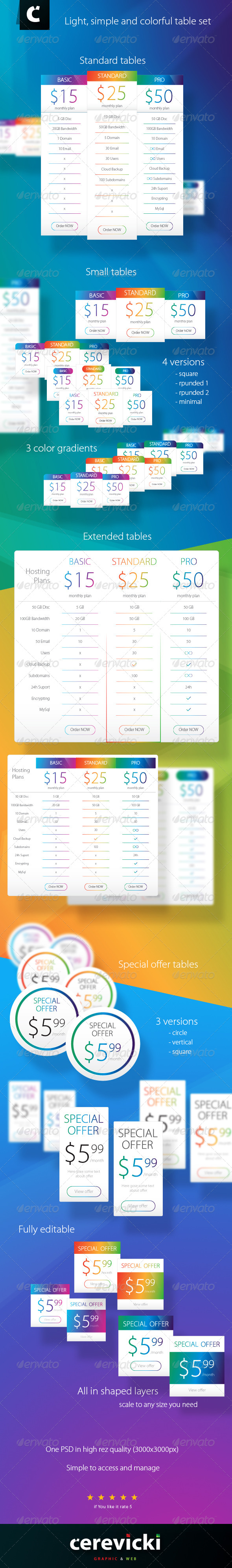 GraphicRiver Light Colorful Table Set 8495761