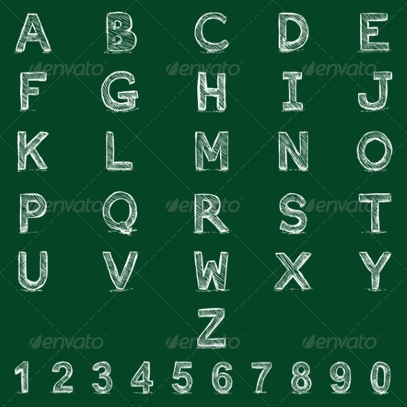 GraphicRiver Vector Sketch Alphabet with Numbers 8496196
