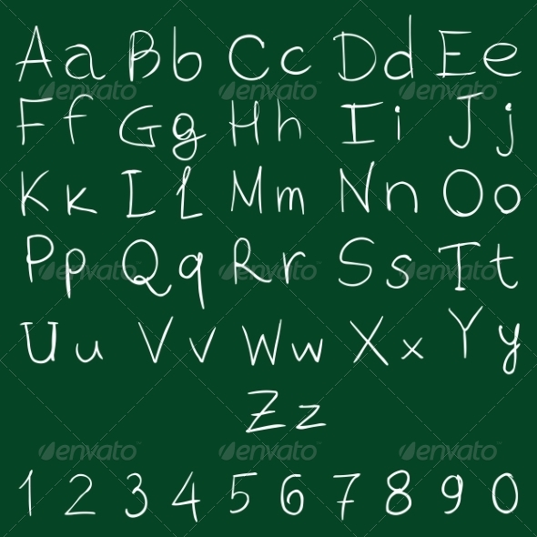 GraphicRiver Vector Handwritten Alphabet with Numbers 8496199