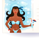 Sea Postcard with Attractive Girl - GraphicRiver Item for Sale