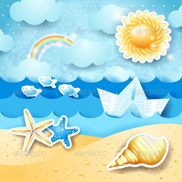 GraphicRiver Seascape with Sun Seashells and Paper Boat 8496468