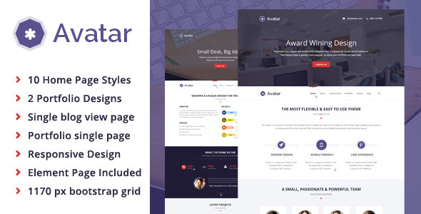 Avatar - All in 1 One Page Parallax PSD Template