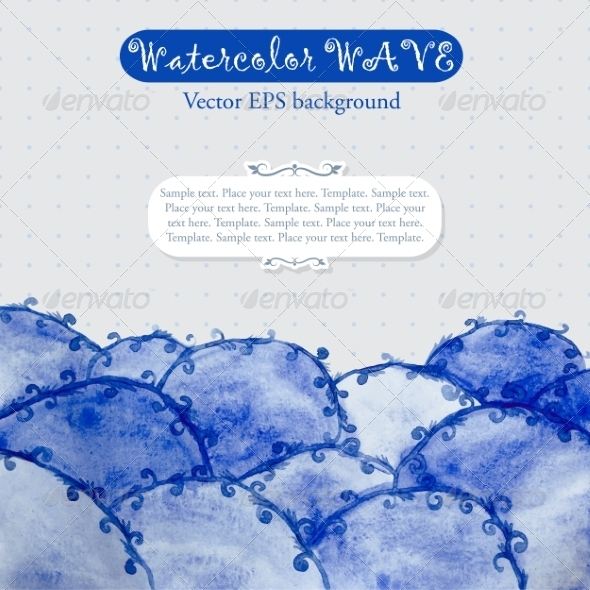 Abstract Template with Blue Watercolor Waves