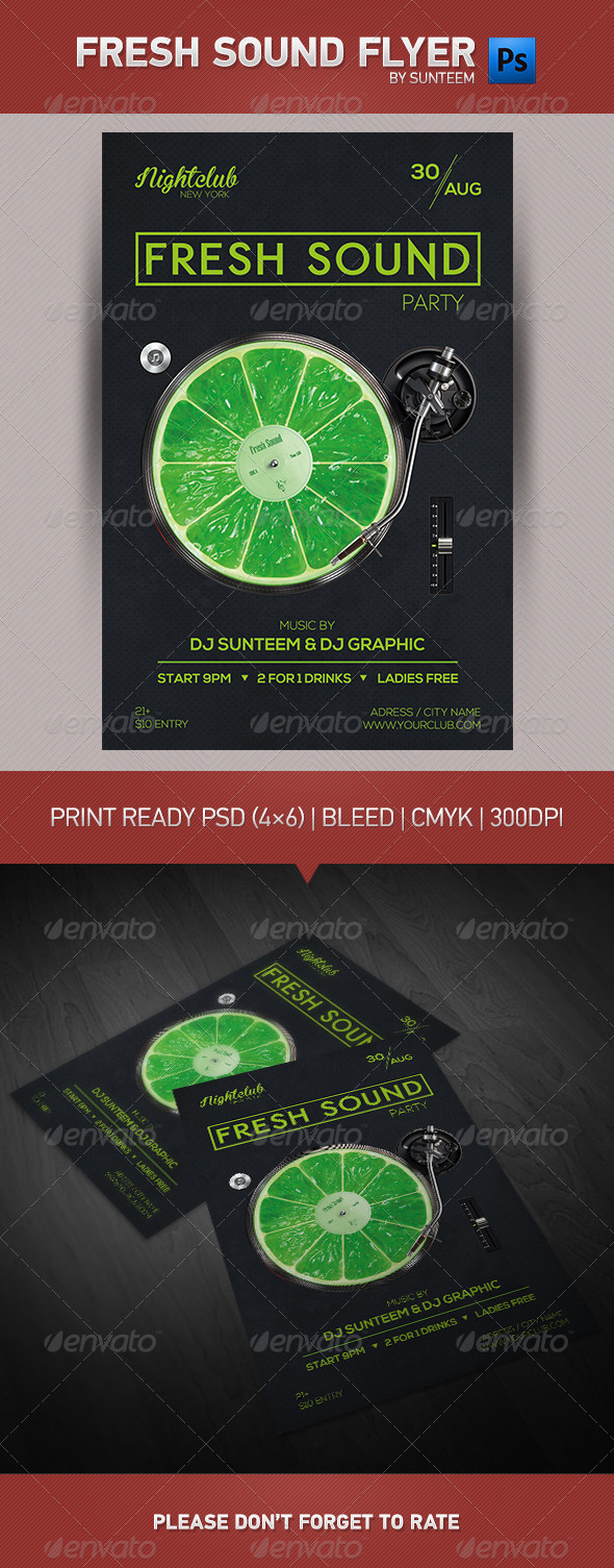 GraphicRiver Fresh Sound Party Flyer Template 8496650