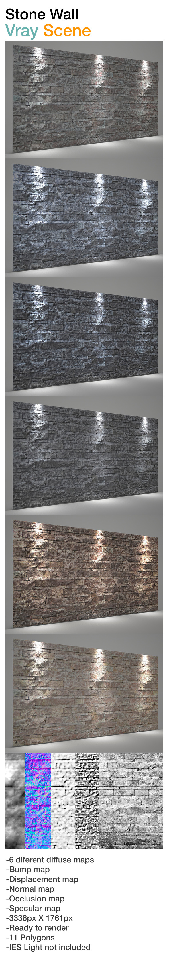 3DOcean Wall stone background Vray scene 8496814