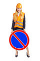 Lady Worker With Road Sign - PhotoDune Item for Sale