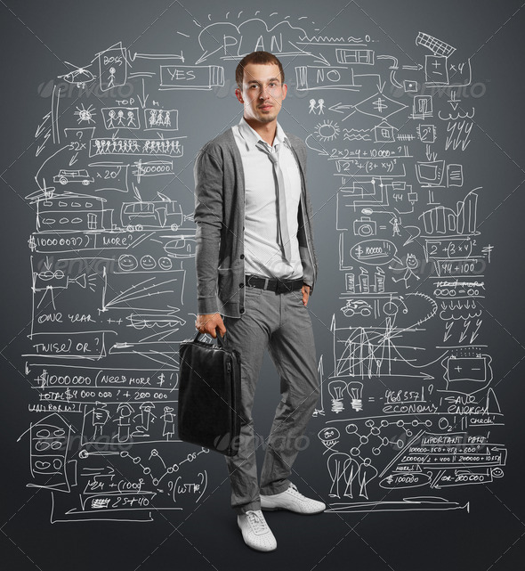 businessman with bag - Stock Photo - Images