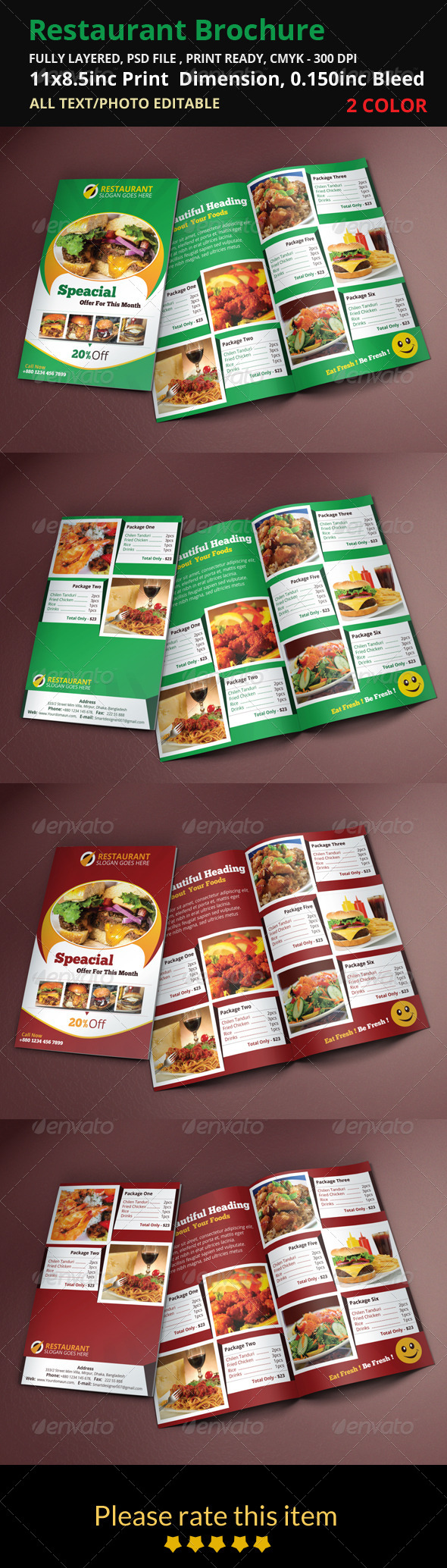 GraphicRiver Restaurant Brochure 8496136