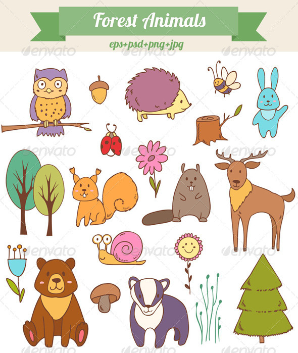 GraphicRiver Forest Animals Set 8497998
