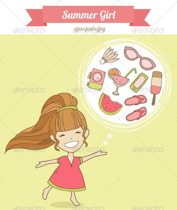 GraphicRiver Summer Girl Illustration 8498069