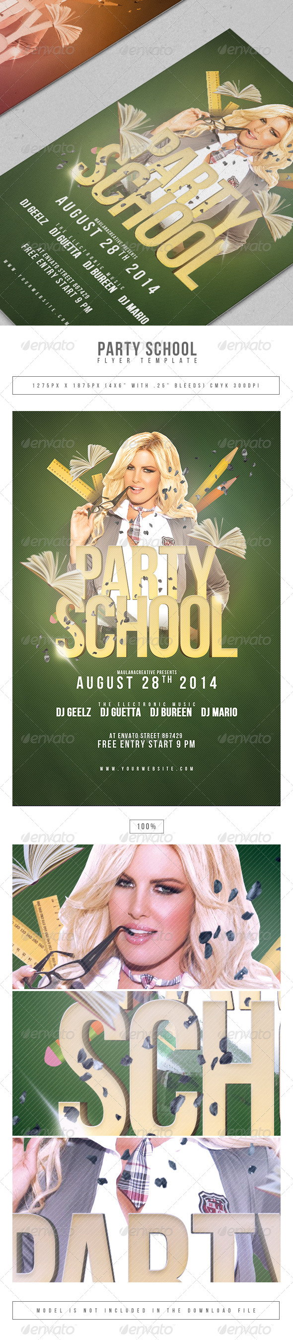 Party School Flyer Template - Clubs & Parties Events