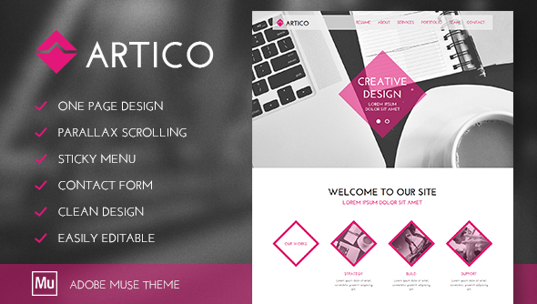 Artico - One Page Parallax Muse Template - Muse Templates