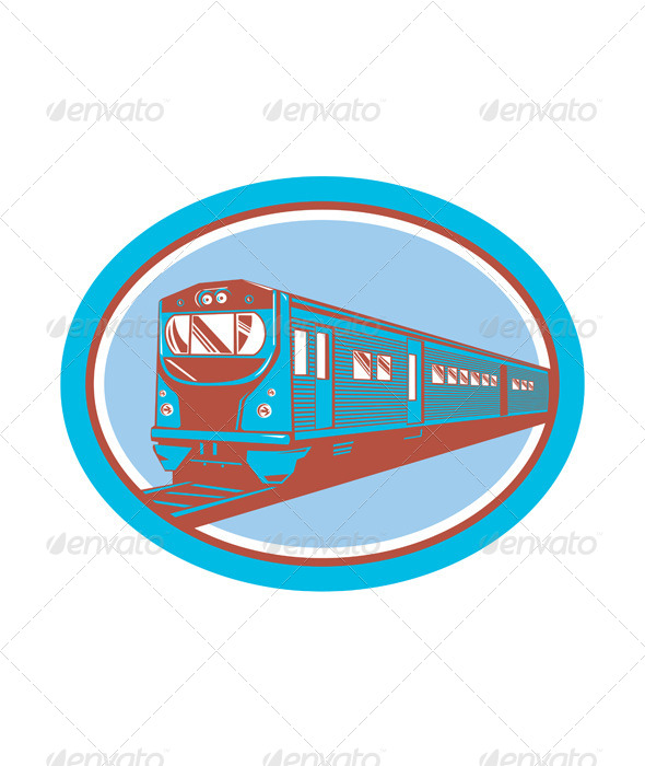 GraphicRiver Passenger Train Front View Retro 8498660