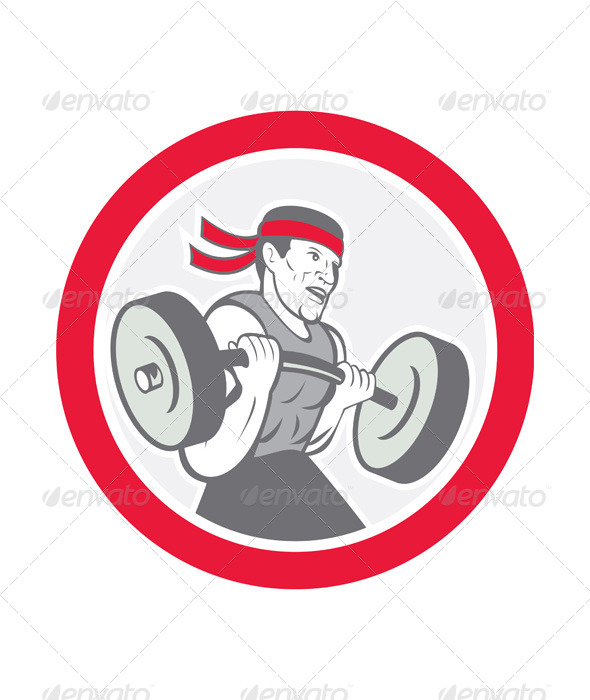 GraphicRiver Weightlifter Lifting Barbell Circle Cartoon 8498668