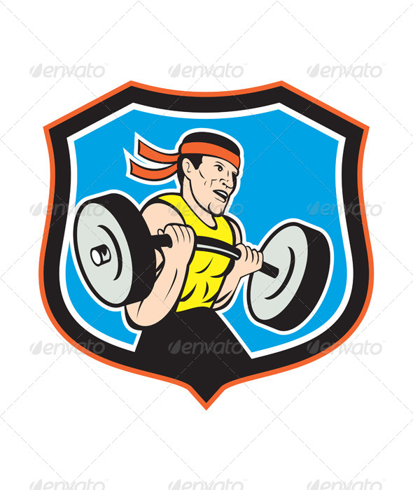 GraphicRiver Weightlifter Lifting Barbell Shield Cartoon 8498681