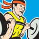 Weightlifter Lifting Barbell Shield Cartoon - GraphicRiver Item for Sale