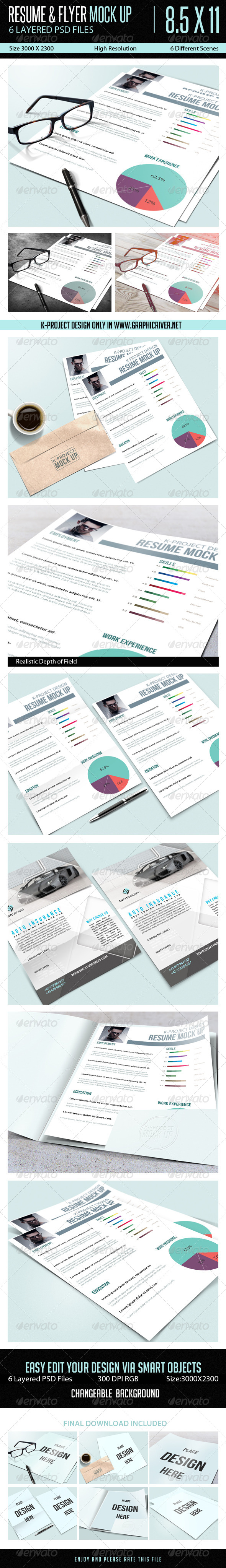 GraphicRiver Resume Flyer Mock Up 8499014