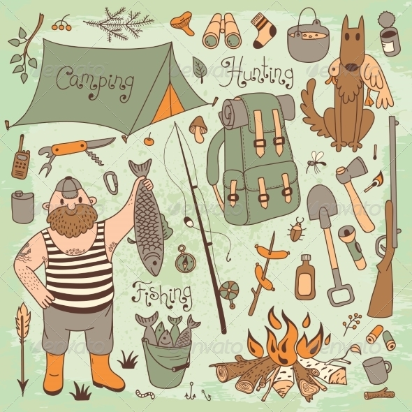 GraphicRiver Fishing Hunting Camping Set 8499243