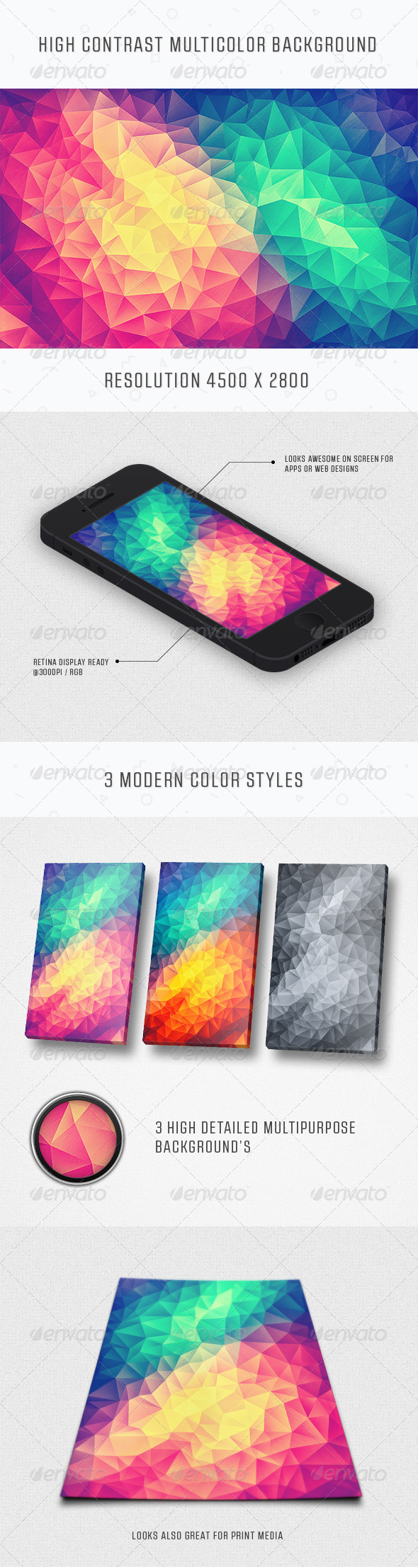 GraphicRiver Modern High Contrast Multicolor Polygon Background 8499244