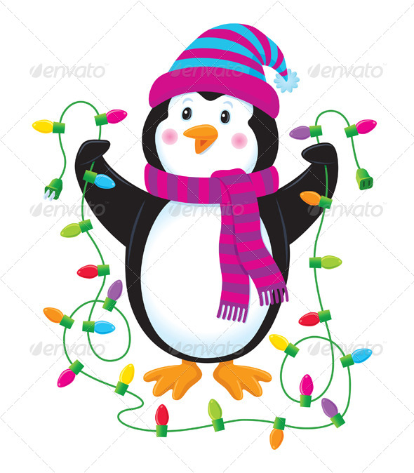 GraphicRiver Penguin With Christmas Lights 8499247