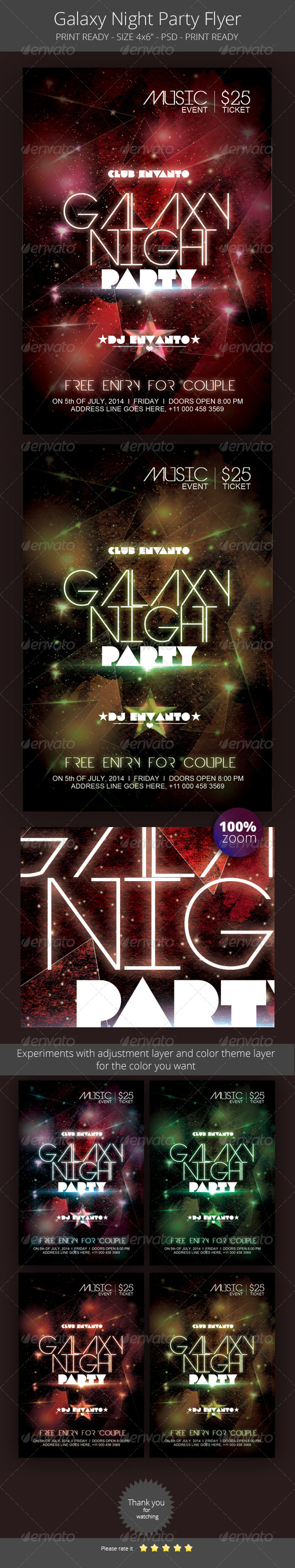 GraphicRiver Galaxy Night Party Flyer 8499666