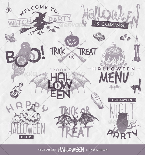 GraphicRiver Halloween Design Set with Hand Drawn Elements 8500614