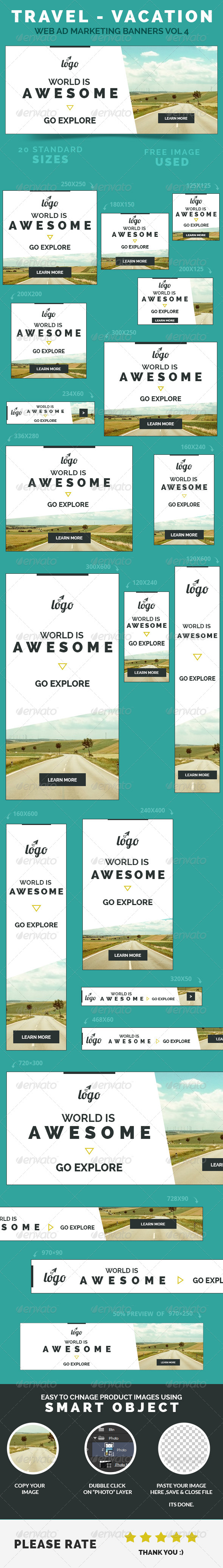 GraphicRiver Travel Vacation Web Ad Marketing Banners Vol 4 8500668