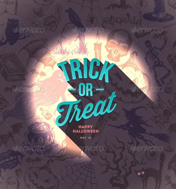 GraphicRiver Halloween Type Design on a Hand Drawn Background 8500684