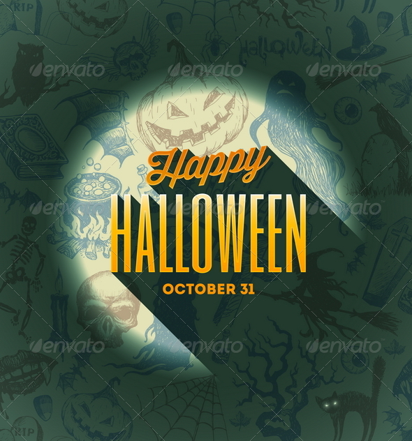 GraphicRiver Halloween Type Design on a Hand Drawn Background 8500754