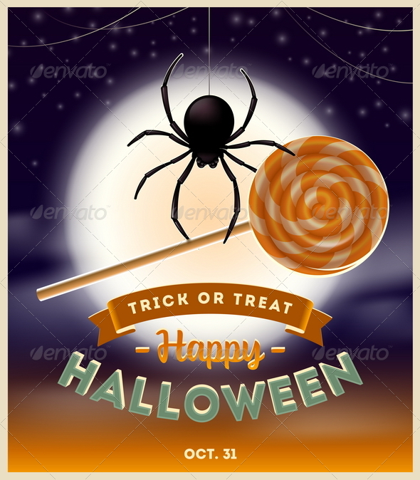 GraphicRiver Halloween Illustration Spider With Lollipop 8500763