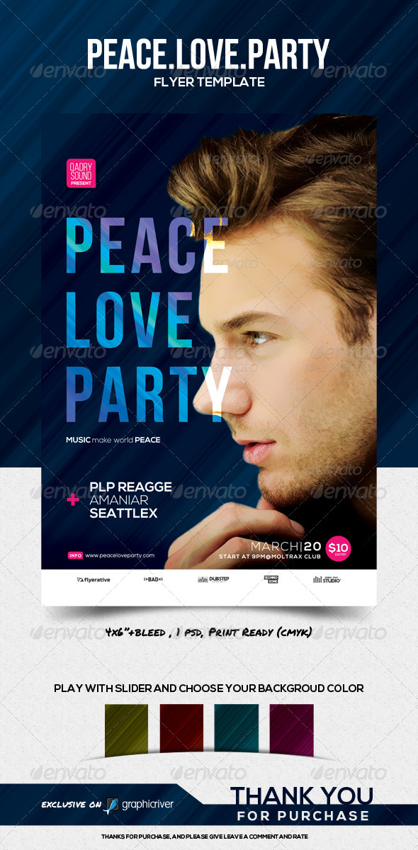 GraphicRiver Peace Love Party Flyer Template 8500878