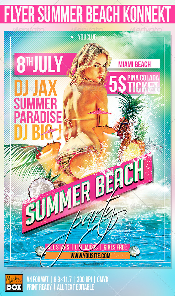 GraphicRiver Flyer Summer Beach Konnekt 8501073