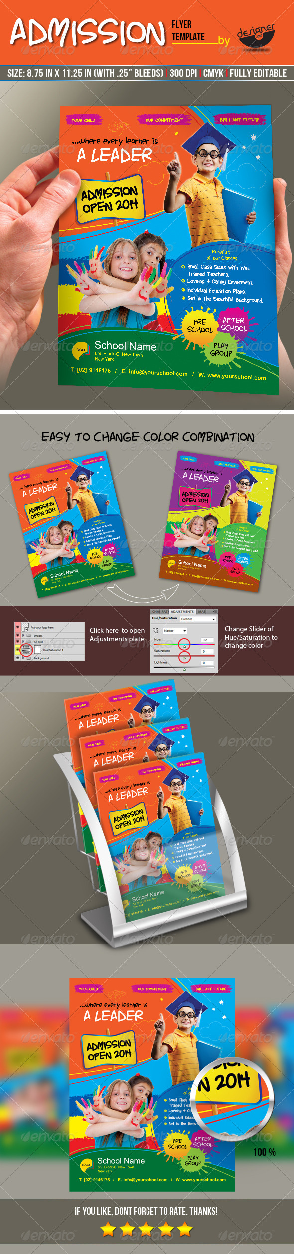 GraphicRiver Junior School Admission Flyer Template 8491498