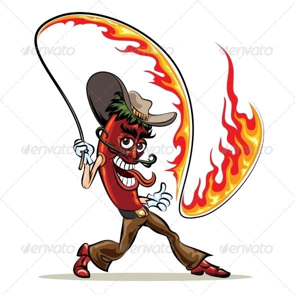 GraphicRiver Chili Pepper with a Lash of Fire 8501080