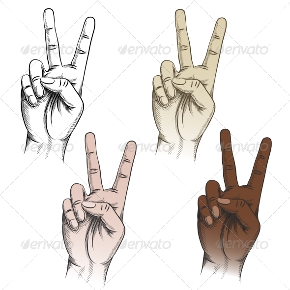 GraphicRiver Victory Fingers Gesture Set 8501172