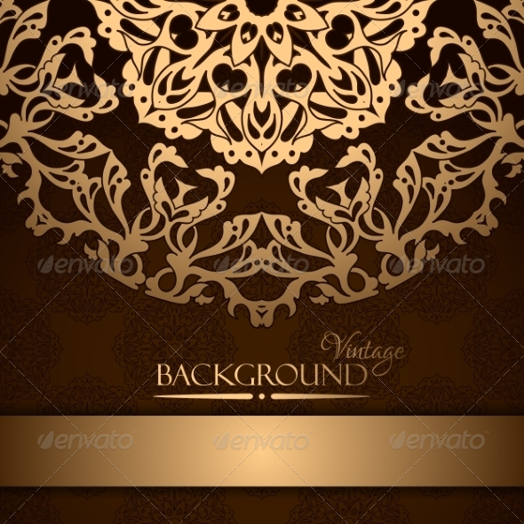 GraphicRiver Invitation with Gold Lace Floral Ornament 8501173