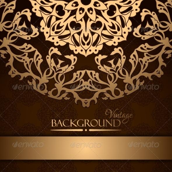 GraphicRiver Invitation with Gold Lace Floral Ornament 8501173
