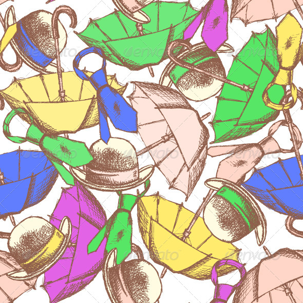 GraphicRiver Sketch Umbrella Hat and Tie 8501325