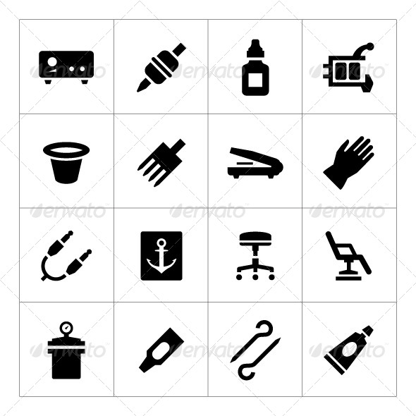 GraphicRiver Set Icons of Tattoo Equipment and Accessories 8501425
