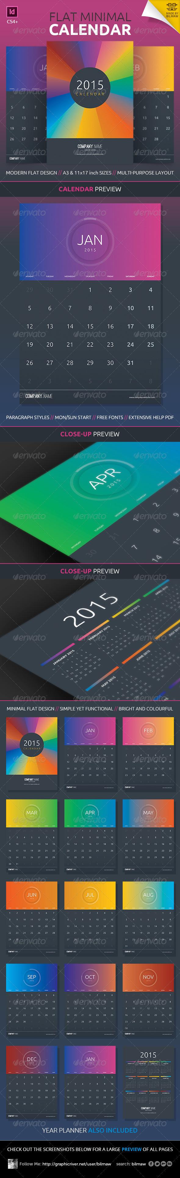 Flat Minimal Calendar - Calendars Stationery