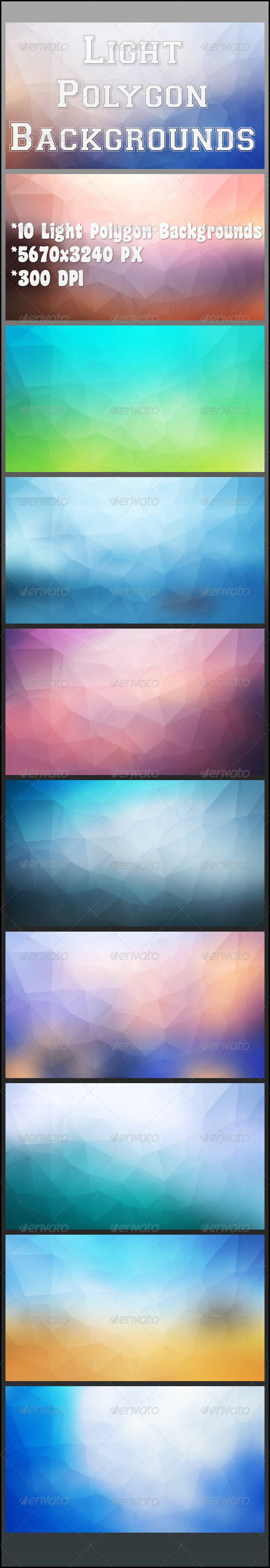 GraphicRiver Light Polygon Backgrounds 8501694