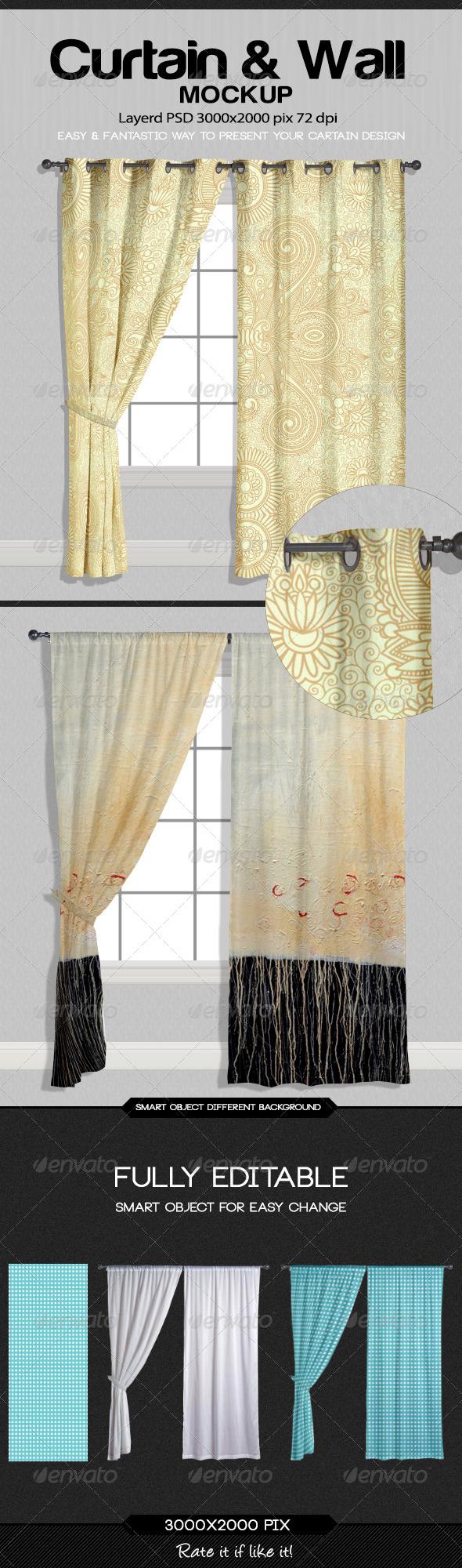 GraphicRiver Curtain & Wall Mockup 8500420