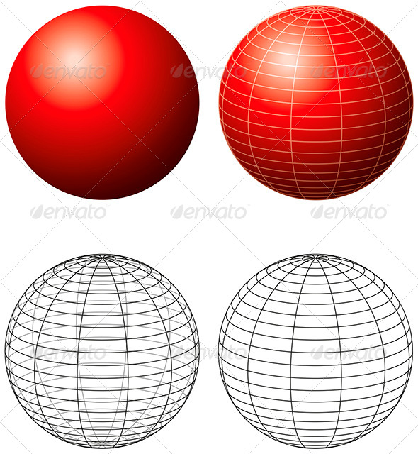 GraphicRiver Red Sphere With Meridians 8502472