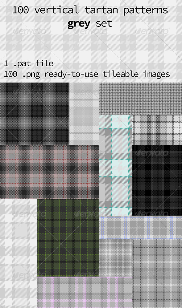 GraphicRiver Tartan Pattern Collection Vertical Grey Set 8502613
