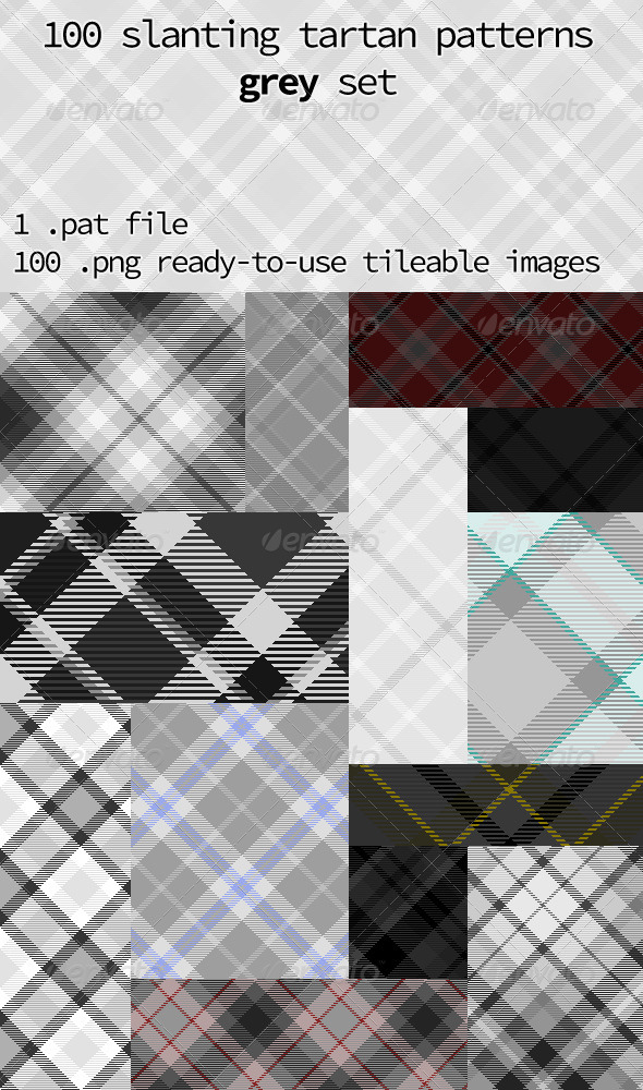 GraphicRiver Tartan Pattern Collection Slanting Grey Set 8502619